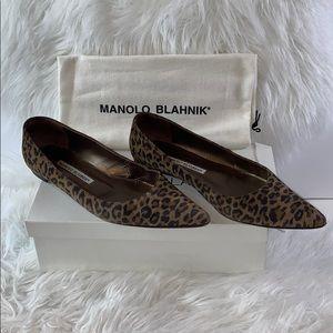 Manolo Blahnik leopard suede flats size 7.5